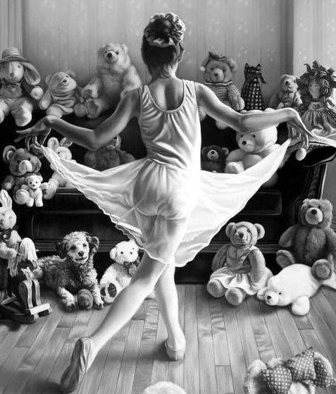 bailarina actuando para peluches