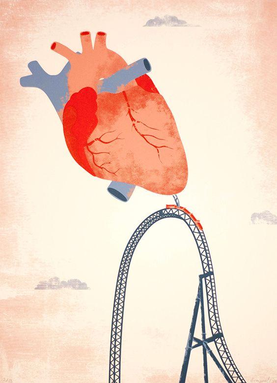 corazón en la montaña rusa