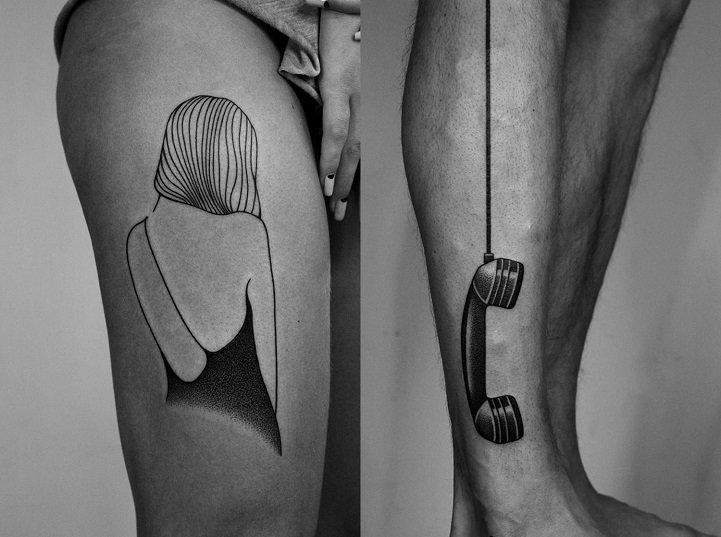 tatuaje pierna y teléfono
